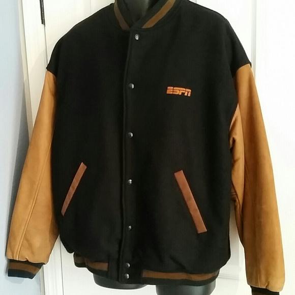 8ead3009e Identity Mens Varsity Jacket ESPN Black Wool XL